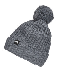 Adult's Grey Pom Pom Knitted Hat