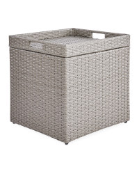Grey Rattan Effect Storage Table