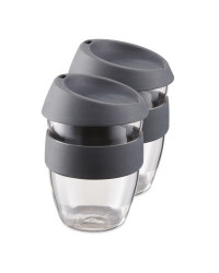 Grey Reuseable Travel Cup 2 Pack