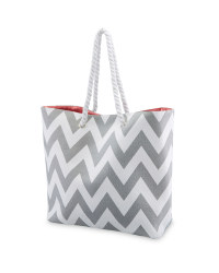 Grey Rope Handle Beach Bag