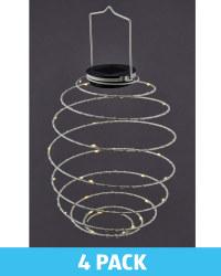 Grey Solar Spiral Light 4 Pack