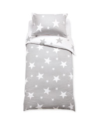 Grey Star Single Duvet Set