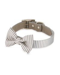 Grey Striped Bow Tie Dog Collar