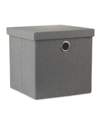 Grey Storage Cube With Lid