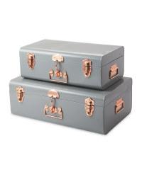 Grey Storage Trunk Set