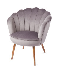 Grey Velvet Scallop Armchair