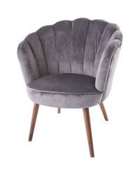 Grey Velvet Scalloped Chair