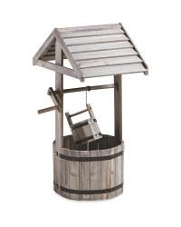 Grey Wishing Well Wooden Planter