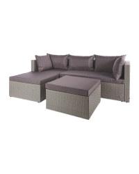 Grey & Anthracite Rattan Corner Sofa