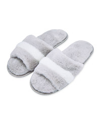 Grey/Cream Avenue Plush Slippers