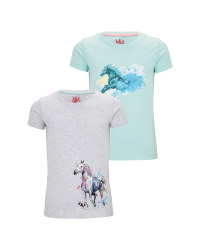 Grey/Mint Kids' Riding Shirt 2 Pack