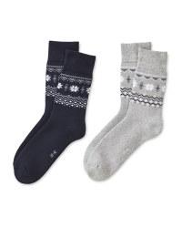 Grey/Navy Mountain Socks 2 Pack
