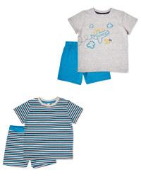 Grey/Navy Shorty Pyjamas 2 Pack