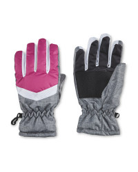 Crane Grey/Pink Junior Winter Gloves