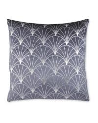 Grey/Silver Deco Printed Cushion