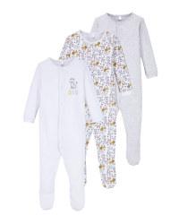 Grey/White Baby Sleepsuit 3 Pack