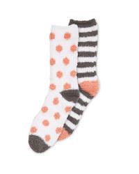 Grey/White Fluffy-Socks Twin Pack