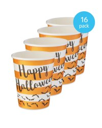 Halloween Striped Paper Cups 16 Pack