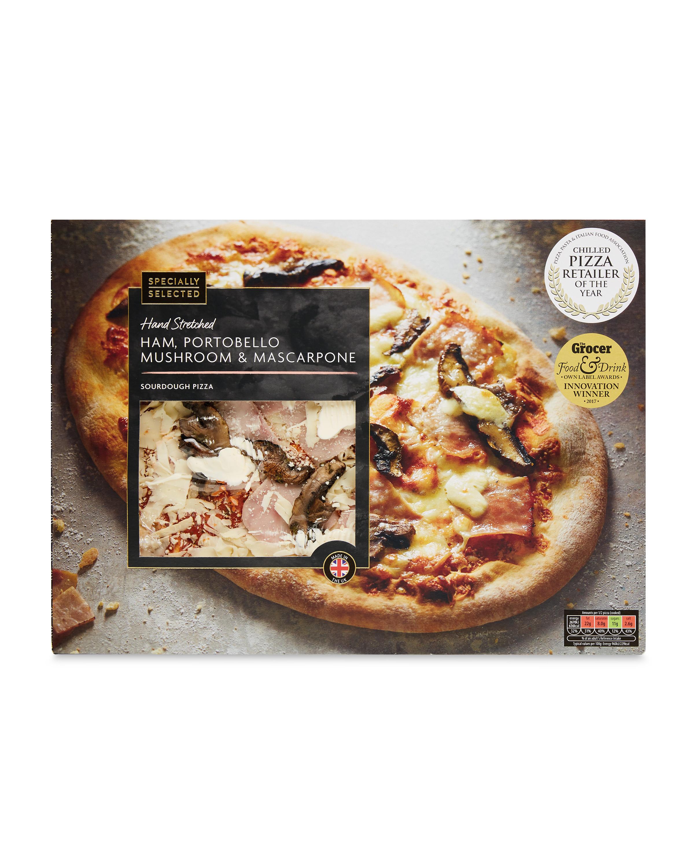 Ham Mushroom Mascarpone Pizza