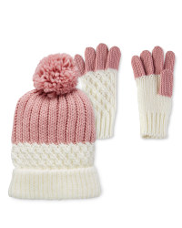 Lily & Dan Pink Hat & Gloves 7-10