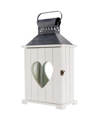 Heart Design Indoor Wooden Lantern