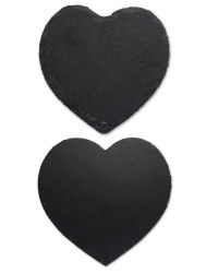 Heart Slate Placemat and Coaster Set