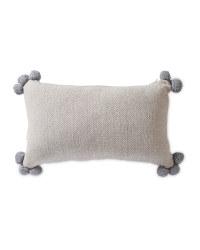 Herringbone Cushion with Pom Pom - Grey