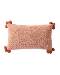 Herringbone Cushion with Pom Pom - Orange