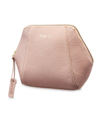 Avenue Hexagon Leather Make Up Bag - Pink