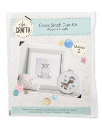 Hippo/Giraffe Baby Cross Stitch Kit