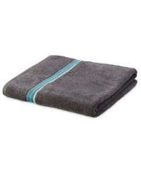 Home Creation Stripe Bath Sheet - Charcoal