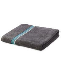 Home Creation Stripe Bath Towel - Charcoal