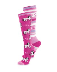 Horse/Stripes Riding Socks 2-Pack