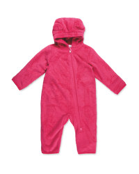 Infants Pink Sherpa Fleece Suit