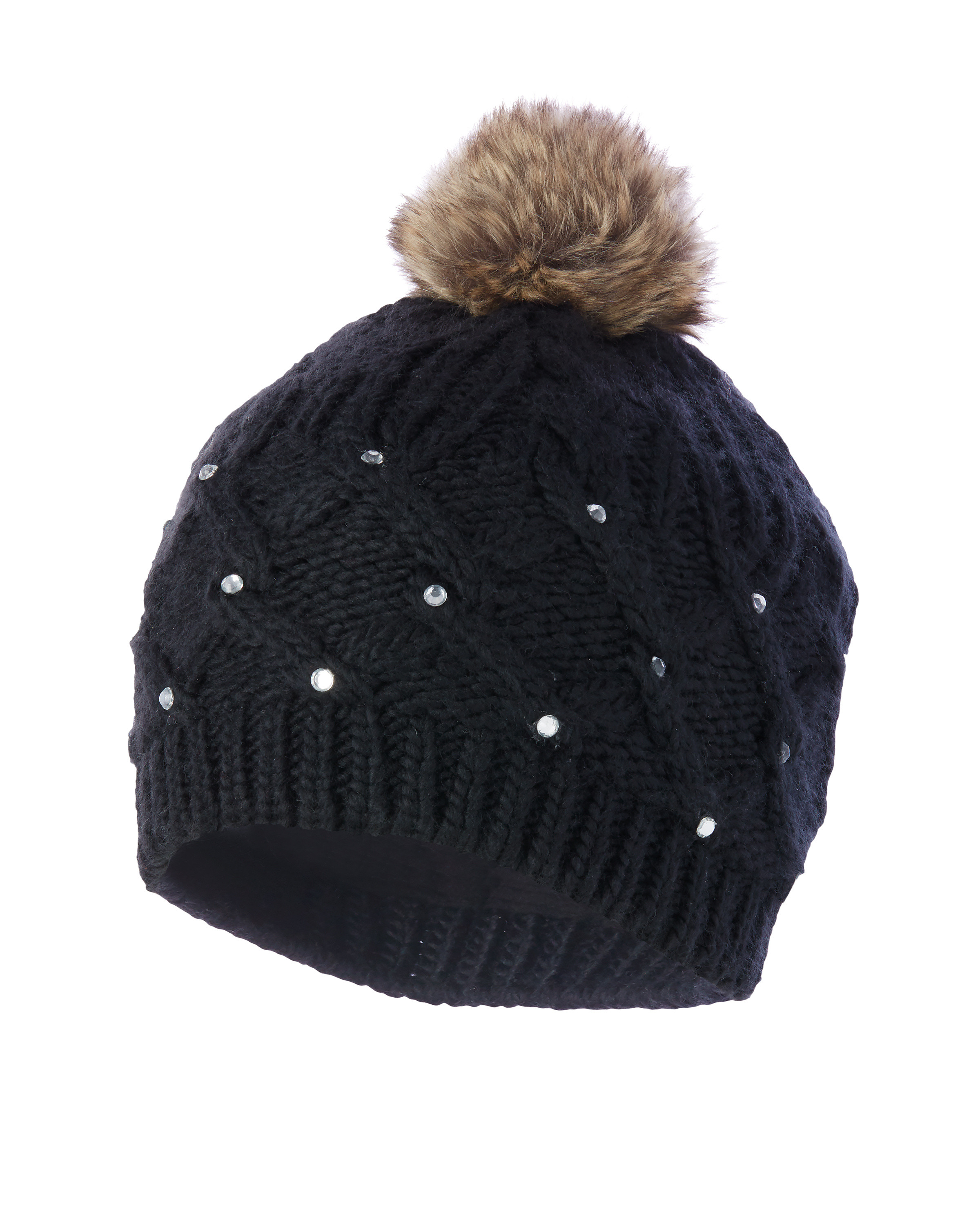 445db867eb3 Inoc Faux Fur Knitted Bobble Hat - ALDI UK