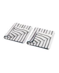 Jacquard Stripe Hand Towel 2 Pack