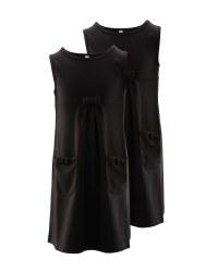 Lily & Dan Jersey Pinafore 2 Pack - Black