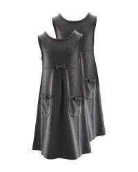 Lily & Dan Jersey Pinafore 2 Pack - Grey