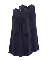 Lily & Dan Jersey Pinafore 2 Pack - Navy