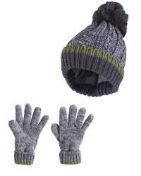 Kid's Grey Hat & Gloves