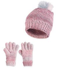 Kid's Pink Hat & Gloves