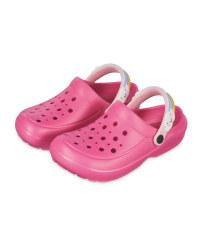 Kids' Pink Rainbow Summer Clogs