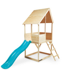 Kids' Wooden Playhouse With Slide