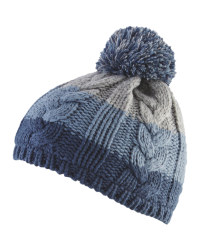 Blue Baby Cable Knit Bobble Hat
