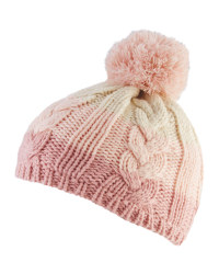 Pink Baby Cable Knit Bobble Hat