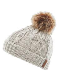 Kids Medium Faux Fur Pompom Hat