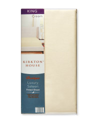 King 400TC Sateen Fitted Sheet - Cream