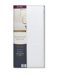King 400TC Sateen Fitted Sheet - White