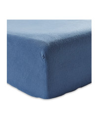 King Brushed Cotton Fitted Sheet - Dark Blue