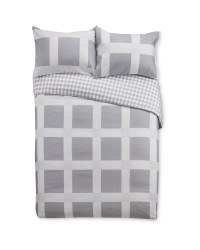 King Grey Check Duvet Set